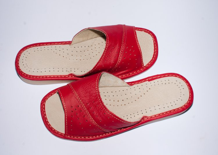 red leather house slippers leather slippers product 50 65